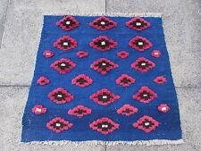 Kilim Old Traditional Hand Made Persian Oriental Blue Wool Small Kilim 78x85cm
