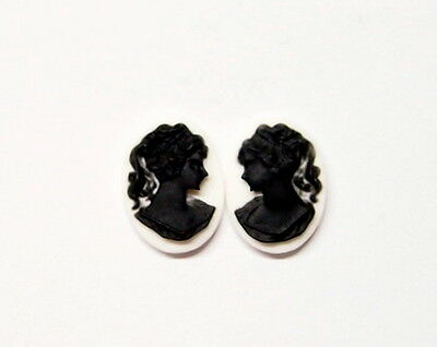 6 of 18x13 mm Black over White Classic Ponytail Woman Cameos 4 Pendants/Earrings