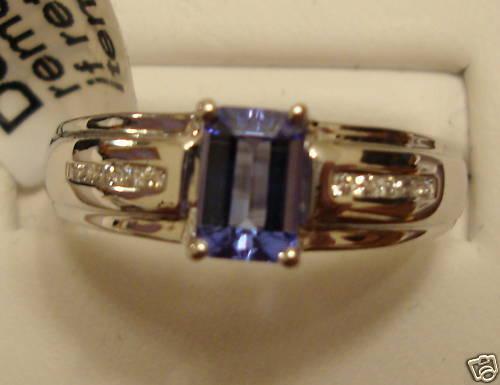 NEW .47ct Octagon Cut Tanzanite Ring 14k WG Size 7