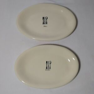 Rae Dunn Artisan Oval Snack Plates Icon Line Eat & Chow Set Of 2