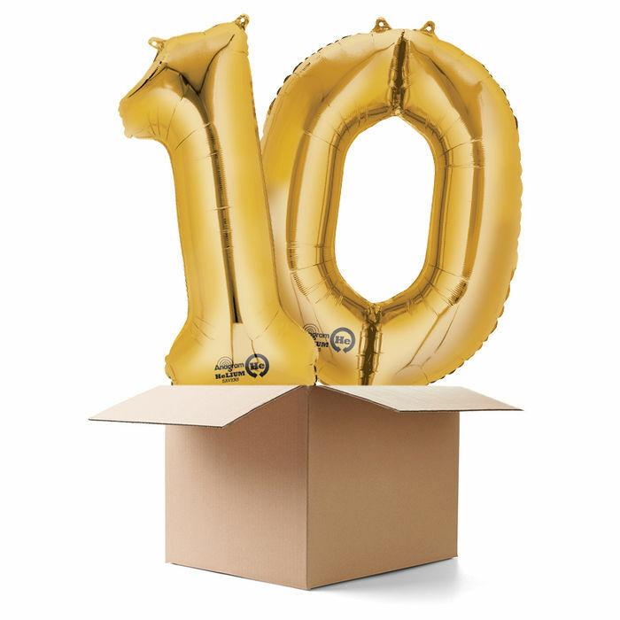 Ballongrüsse XXL Zahl 10, Gold, 2 Ballons Zahlenballon Geburtstagsballon Party   In hohem Grade geschätzt und weit vertrautes herein und heraus    Moderne und stilvolle Mode
