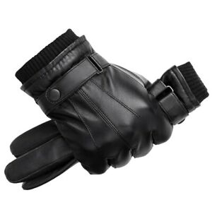 Mens Real Leather Gloves Winter Warm Thermal Driving Gents Walking Black Brown