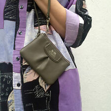 Authentic designer Coach greige/grey real leather coin purse with wristlet strap