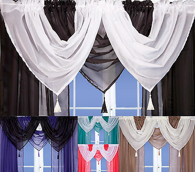 Tassled Voile Curtain Swags All Colours- Pelmet Valance Net Curtains Voile Swags