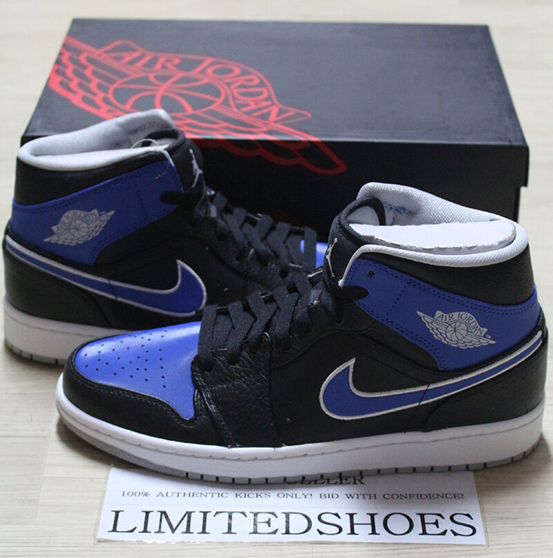 NIKE AIR JORDAN 1 MID BLACK GAME ROYAL 554724-007 high bred banned hare gym red
