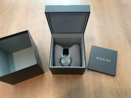 394d70dc517 Gucci Mens YA126313 Timeless Silver Dial Black Leather Strap Automatic Watch  for sale online