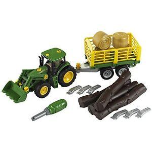 Klein-John-Deere-Traktor-mit-Holz-und-Heuwagen-Bau-und-Konstruktionsspielzeug