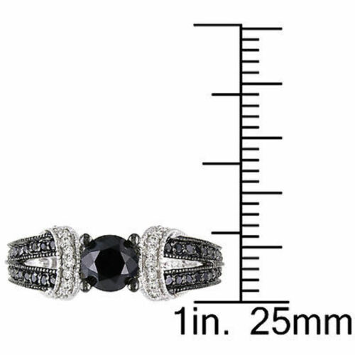 Sterling Silver 1 CT Black and White Diamond TW Fashion Ring GH I2-I3