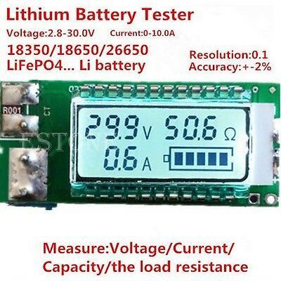LCD Lithium Li-ion 18650 26650 battery tester Capacity Current Voltage meter