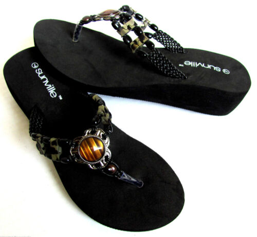 Black Beaded Braided Strap EVA  Wedge Thongs Flip Flops Sandals  Size US 6-11