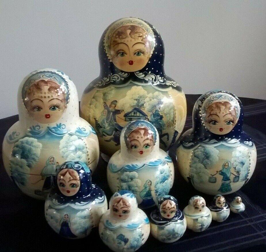Da collezione dipinto a uomoo blu oro  Bambole Russe Matriosca Baautobushka Bambola di 10  sconto online