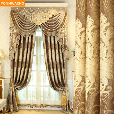 European luxury jacquard embroidery yellow cloth blackout curtain valance N488