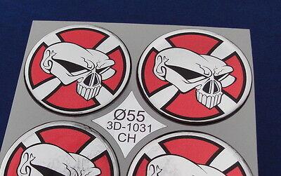 (1031 CH) Totenkopf Embleme für Nabenkappen Felgendeckel 55mm Silikon Aufkleber