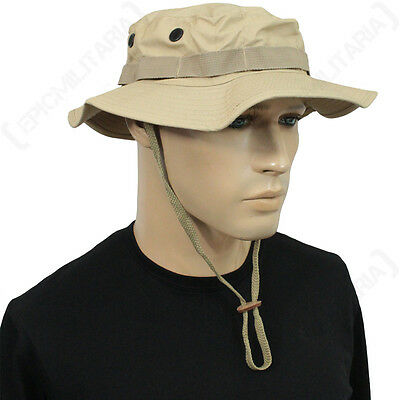 US Khaki Rip Stop Boonie Hat - American Sun Peak Bucket Bush Cap Field All  Sizes   eBay