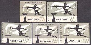 POLAND-1964-Matchbox-Label-Cat-Z-477-set-Olympics-Tokyo-64-fencing