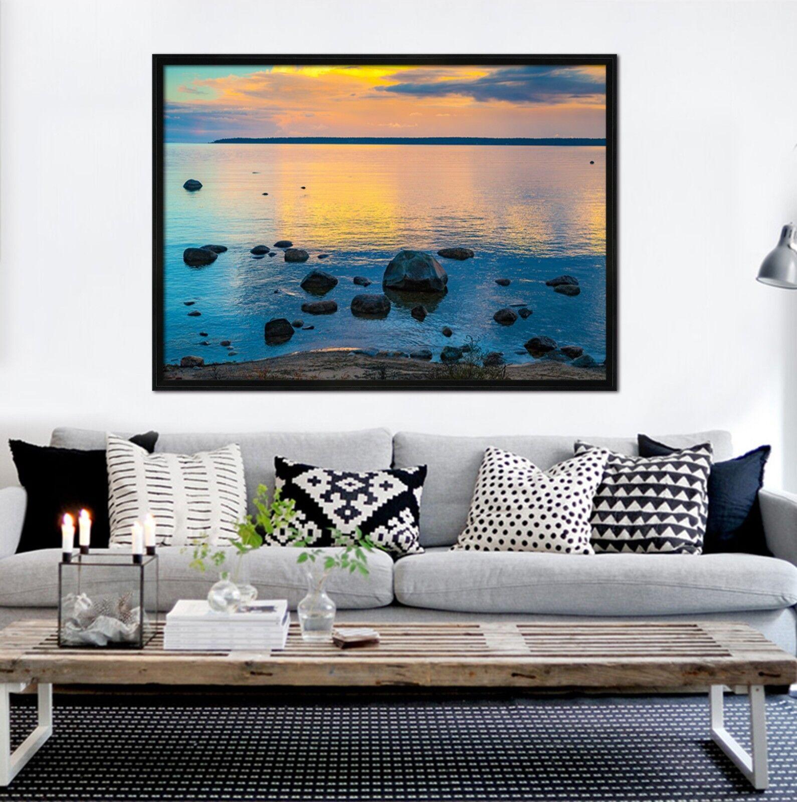 3D Sunset Sea View 2 Framed Poster Home Decor Drucken Painting Kunst AJ WandPapier