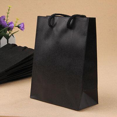 10 Black Kraft Paper Carrier Gift Present Rectangle Packing Shopping Bag Fashion