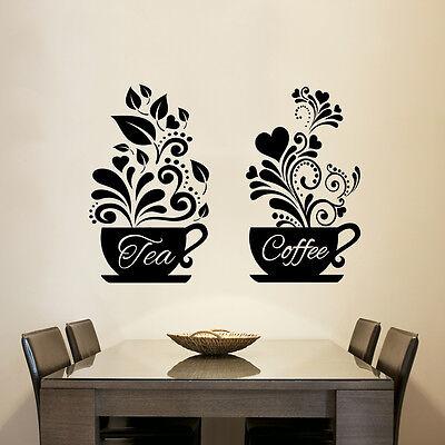 2 Coffee Cups Kitchen Wall Tea Sticker Vinyl Decal Art Restaurant Pub Decor Love by Wall4stickers