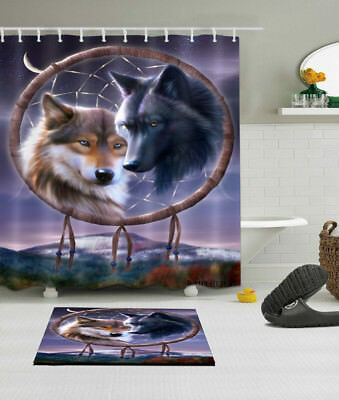 Wolf Dream Catcher Shower Curtain Polyester Waterproof Fast Shipping
