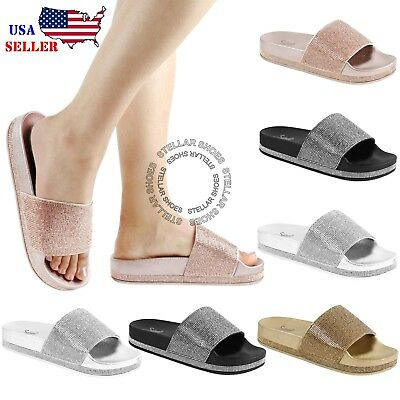 5616537450a NEW Women s Rhinestone Glitter Crystal Slide Footbed Platform Sandal  Slippers