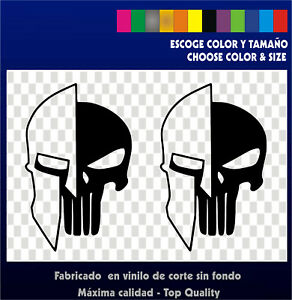 2 X Stickers Vinilo - Pegatinas - PUNISHER SPARTAN- Vinyl - Adhesivi - Aufkleber