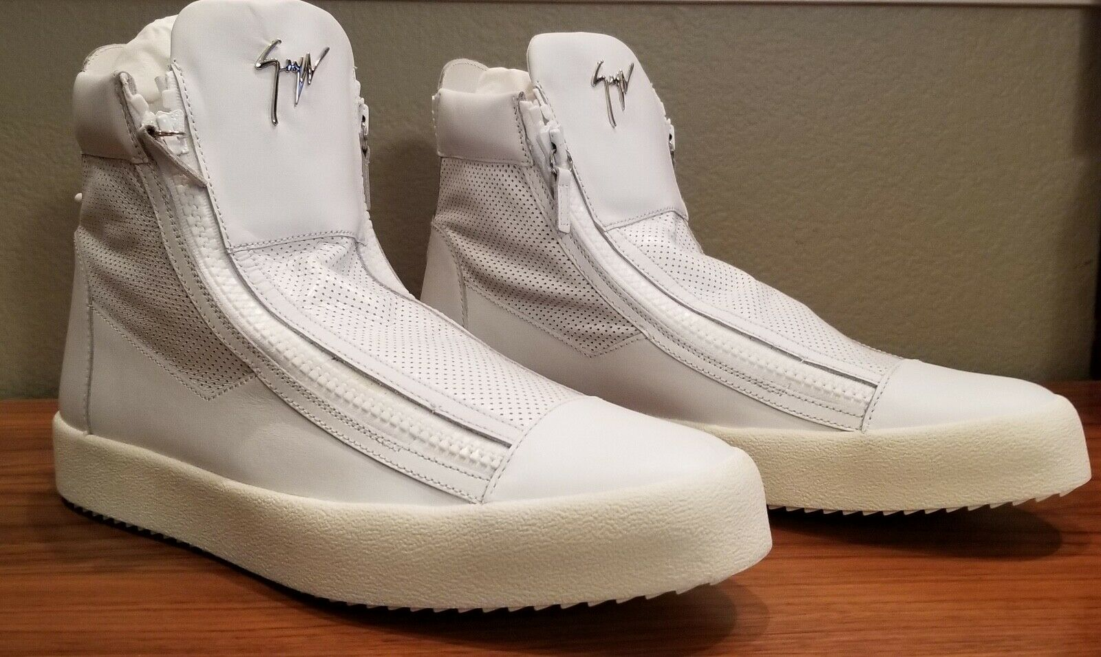 NIB Giuseppe High-Top Sneakers With Tags, White, ZIP, 47  14M US Orig