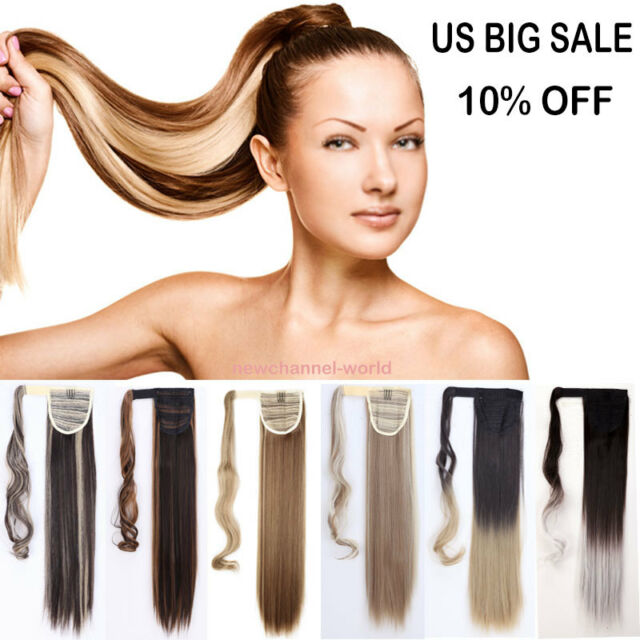 Us Seller One Piece Wrap Around Ponytail Clip In Hair Extensions