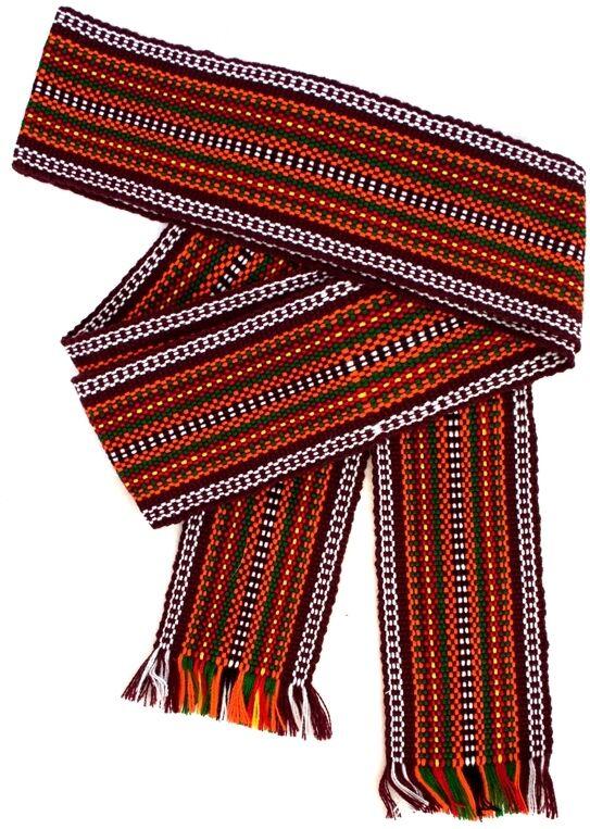 Ukrainian hand woven homespun Hutsul Beltt Orange KRAYKA for Vyshyvanka