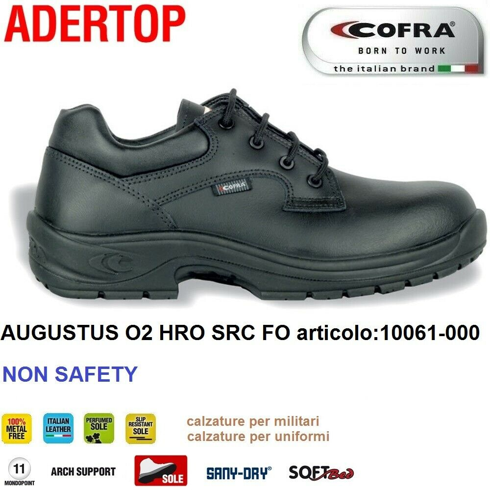 Scarpe Antinfortunistiche COFRA linea ADERTOP modello AUGUSTUS O2 HRO SRC FO pelle idrorepellente NON SAFETY calzature per militari , calzature per