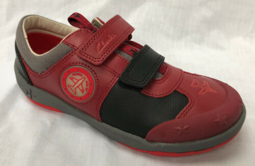 """BNIB Clarks Boys Jet Sky Buzz Red Leather /""""Lights/"""" Shoes F Fitting"""