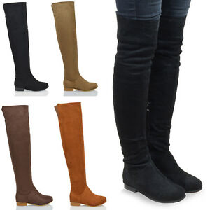 WOMENS OVER THE KNEE HIGH FLAT LADIES LONG FAUX SUEDE THIGH HIGH ...