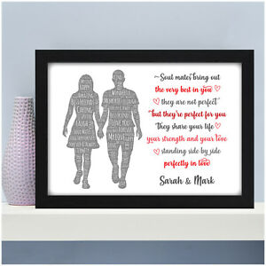 Details About Personalised Christmas Birthday Gifts For Couples Her Him Soul Mates Poem Gifts