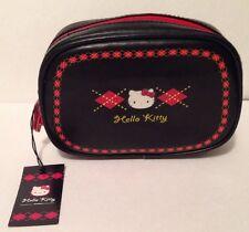 Sanrio Hello Kitty Vtg Navy Vinyl Argyle Zip Case Pouch Make Up Bag NWT  2004