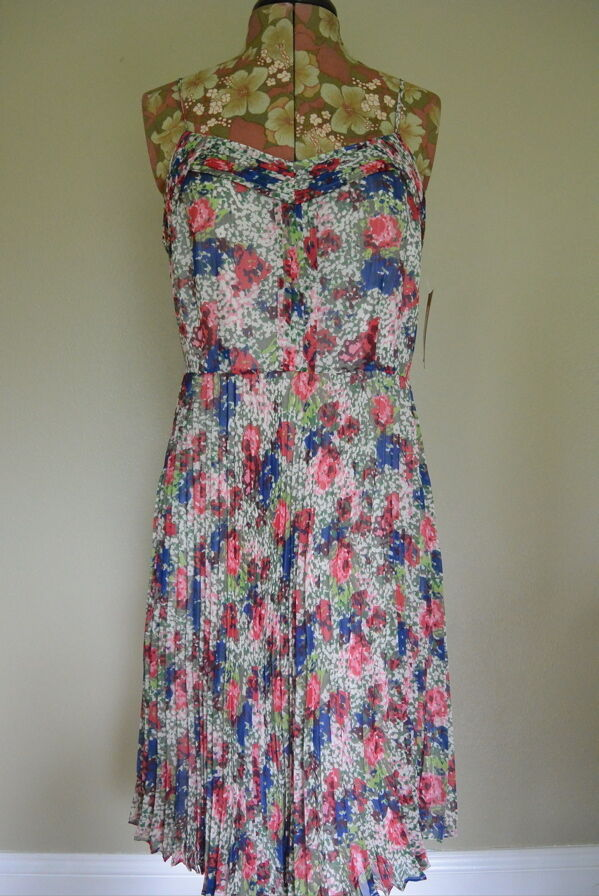 Cremieux Daniel Dress 6 S M M M Bula Palm Beach Spaghetti Straps Pleated Summer NWT bff54f