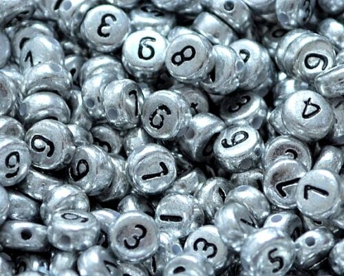 flat round silver numbers acrylic beads approx 7mm