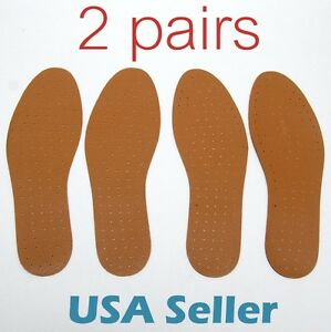 2-pairs-Synthetic-Leather-INSOLE-Shoe-Insert-Pads-Comfort-Cushioning-UNISEX-S012