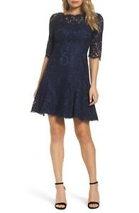 ELIZA-J-Womens-Navy-Three-quarter-sleeves-Lace-Fit-amp-Flare-Dress-Size-12