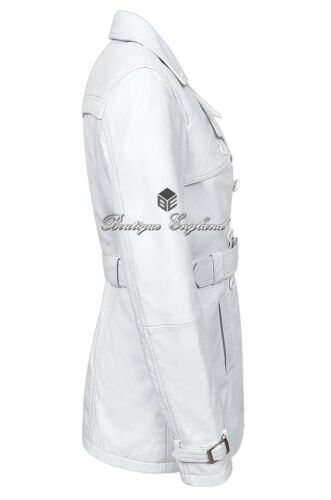 Classic White Trench length Coat Mid Napa Ladies Jacket Designer 1123 Leather HnW5WBU