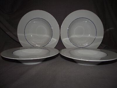 "Set of 4 Crate and Barrel Epoch Blue Line 9 1//4/"" Rim Soup Pasta Bowls"