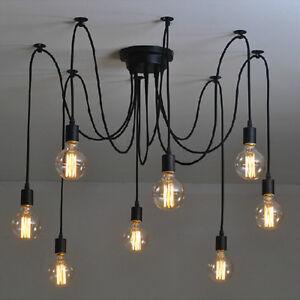 Image Is Loading Vintage Edison Multiple Ajustable DIY Ceiling Spider Lamp