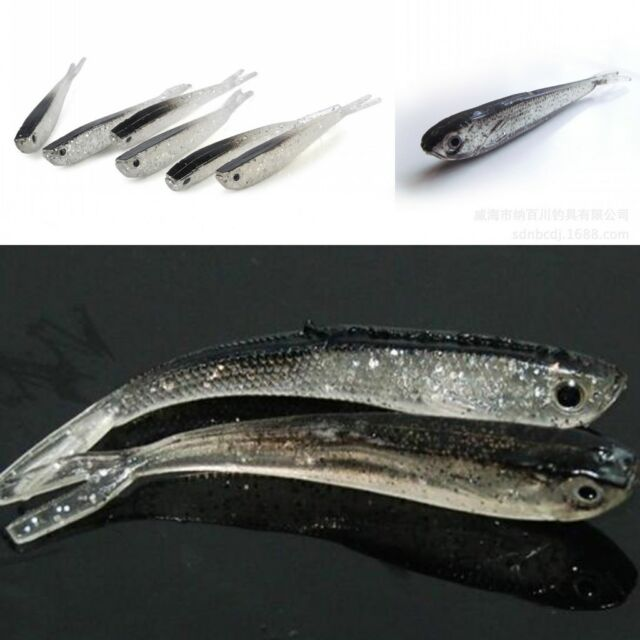 10Pcs 75mm Soft Silicone Tiddler Bait Fluke Fishing Saltwater Fish Lure Bass New