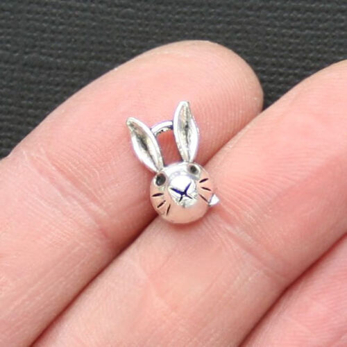 15 Bunny Charms Antique Silver Tone Cute Rabbit Face SC3014