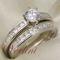 1.5 Ct Round Cut Aaa Cz Wedding 925 Silver Women's Ring & Band Set Size 5-10