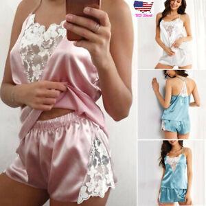 551dba69c0 2PCS Women Lingerie Lace Satin Cami Vest Shorts Underwear Sleepwear ...
