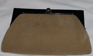 Vintage-Macys-Purse-Clutch-Taupe-Suede-Leather-Black-Lucite-Frame-Italy-Bag