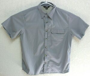 Avia-Mens-Gray-Vented-Travel-Short-Sleeve-Camp-Shirt-Polyester-Blend-Medium-EUC