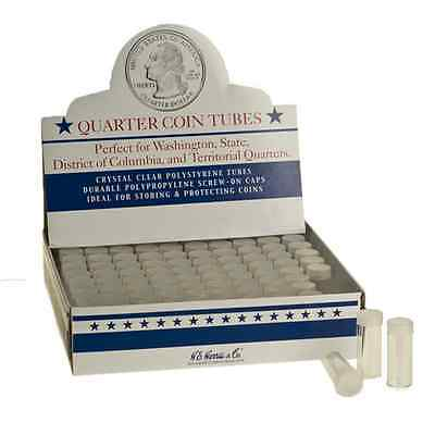 Box of 100 Whitman HE Harris Round Screw Top Coin Tubes Holders Quarter 25c 24mm