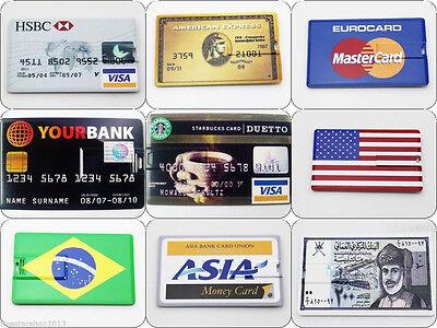 Funny Credit card USB 2.0 Memory Stick Flash pen Drive 4GB 8GB 16GB 32GB BP520