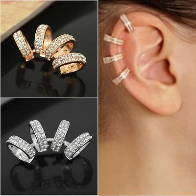 Cool Lady Fashion Charm White Crystal Gold Silver Ear Cuff Clip on Earrings 1PC