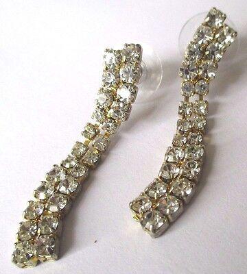 Ospitale Boucles D'oreilles Percées Bijou Vintage Couleur Argent Cristal Diamant 465